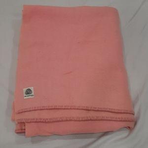 Vintage pink wool blanket 67 by 76 inches
